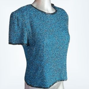 Adrianna Papell Vintage Blue Beaded Top Size 10